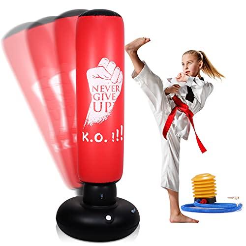LURNOFY Sacco da Boxe Autoportante Gonfiabile da 160 cm, Sacco da Boxe da Terra con Pompa Pneumatica per Alleviare la Pressione di Bambini e Adulti, Colonna Tumbler per Fitness Karate Taekwondo MMA