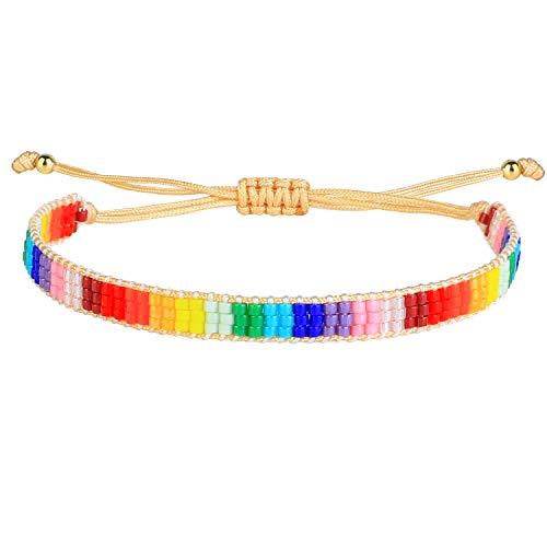KANYEE Pulseras de la amistad coloridas bohemias amplias pulseras ajustables pulseras trenzadas joyas