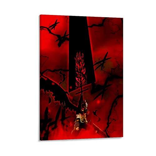 DRAGON VINES Anime Trébol Negro Asta Espada Mágica de la Película Posters e Impresiones para Dormitorio, Sala de estar, Cocina, Arte de pared Decoración 30 x 45 cm