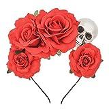 DreamLily Dia de Los Muertos Rose Skull Headpiece Frida Kahlo Headband Mexican Flower Crown Party Costume NC28 (Red)