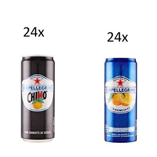 24x San pellegrino Dose Chinotto Chinò 330 ml Italien Bitterorange Limonade + 24 Dosen L'Aranciata 330 ml San pellegrino Orangen Limonade Original Orange
