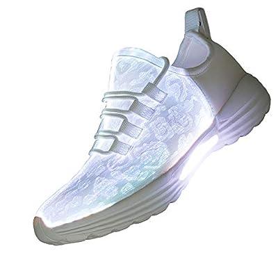 Lxso Fiber Optic LED Light Up Shoes for Women Men USB Charging Flashing Luminous Fashion Sneakers for Festivals Party(Lxso-916White36)