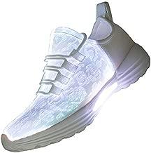 Lxso Fiber Optic LED Light Up Shoes for Women Men USB Charging Flashing Luminous Fashion Sneakers for Festivals Party(Lxso-916White42)