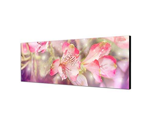 Sur Toile en tant que Panorama 150 x 50 cm Fleurs Filtre de Couleur Rose
