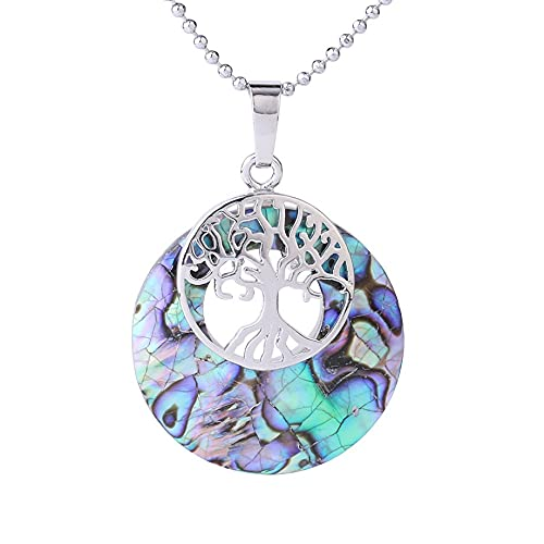 Collares Piedras,Tree Of Life Necklace,Donuts Ladies Necklace,Purple Abalone Shell Fragments Stitching,With Silver Round Bead Chain Aura Retro For Wife Daughter, Girlfriend'S Holiday Anniversary Gif