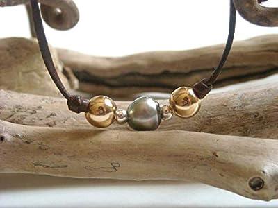 Perle de Tahiti, or gold filled et argent sur cuir australien - Bracelet adaptable femme