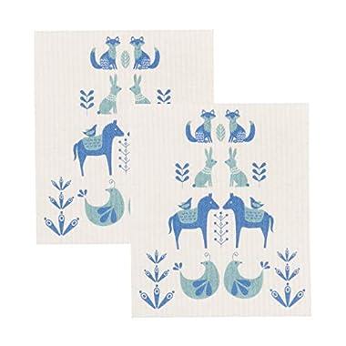 Now Designs 2000022aa Swedish Dishcloths, Set of 2, Meadowland Print