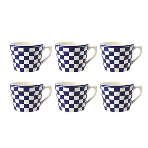 Depot d'argonne Damier Motif 6 Tasses à Cappuccino, céramique, Bleu, 11 x 9 x 7 cm