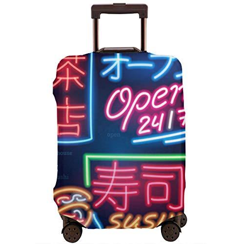 Travel koffer beschermer, set van neon teken Japanse hiërogliefen nacht helder signbord gloeiende licht Banners Grill Sushi eten theehuis bar, koffer cover wasbare bagage Cover