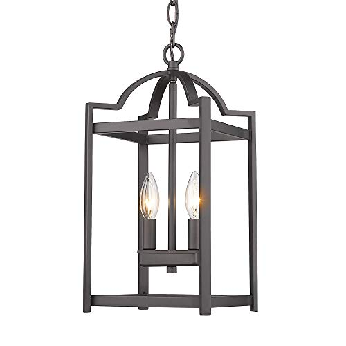 Emliviar 2-Light Lantern Pendant Light, Foyer Chandelier Hanging Light Fixture, Oil Rubbed Bronze Finish, P3038-2