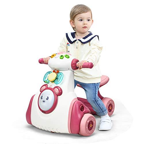 COSTWAY Gioco Cavalcabile Moto per Bambini con Luci e Musica, 4 Ruote, Senza Pedali, per Bambini 19-36 Mesi (Rosa)