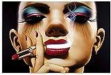 Lienzo Y Arte De Pared PóSter 60*90cm Sin Marco Póster de cigarro con lápiz labial artístico al óleo para mujer y póster de decoración de dormitorio familiar moderno con impresión de imagen