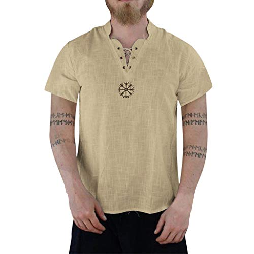 WUSIKY Leinenhemd Herren Sommer Hemd Fashion Aus Reiner Baumwolle Und Hanf Kurzarm Bequeme Oberteile T-Shirts (XXL,Khaki)