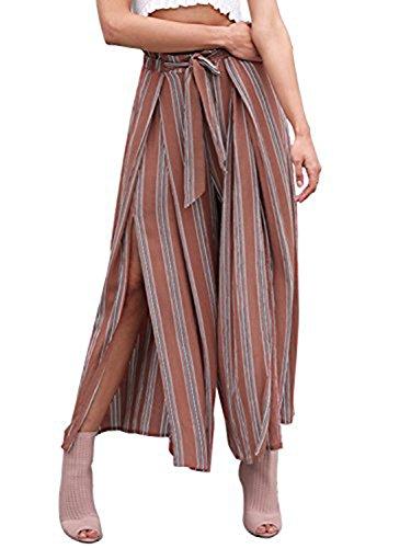 Missy Chilli Gestreifte weite Hose mit hoher Taille und Beinschlitzen Split Casual Locker Sommer-/Strandhose mit Gürtel für Damen Gr. 36 DE (Medium), Stripe3