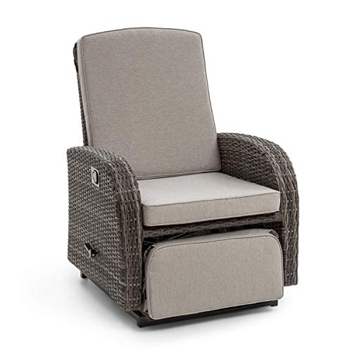 blumfeldt Comfort Siesta Luxury Sessel - verstellbare Rückenlehne, Fußteil, Material Bezug: Polyester, 8 cm Polsterung, integrierte Schwingfunktion, Gasdruckfeder, Stahlrahmen, dunkelgrau