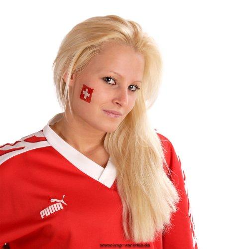 25 x Schweiz Tattoo Fan Fahnen Set - WM 2018 Swiss temporary tattoo Flag (25)