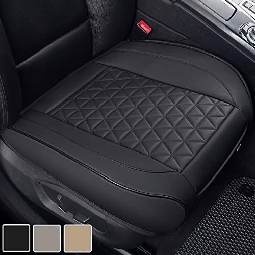 Black Panther Sitzauflagen Auto PU Leder Autositzbezüge Vordersitz Universal Fit 90% der Autos Sitze, 20,8'' * 21'' (1 Paar - Schwarz)