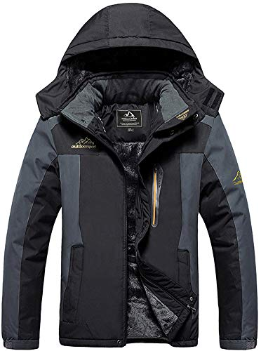 Skijacke Herren Wasserdicht Fleecejacke Warm Softshelljacke Winter Outdoorjacke Fleece Wanderjacke Outdoor Windjacke Winddicht Ski Jacke Warme Winterjacke Parka Softshell Regenjacke Funktionsjacke