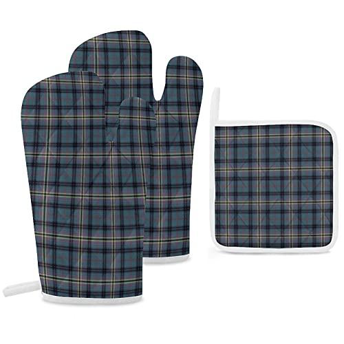 Lot de 3 maniques de four et maniques - Bleu sarcelle et noir - Kennedy Clan Ancient Scottish écossais - Gants de cuisine antidérapants...