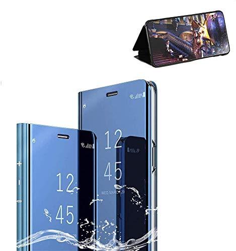 Xinglong Funda Compatible para Xiaomi Redmi Note 8 Pro,Carcase Xiaomi Redmi Note 8 Pro Flip de Espejo,Inteligente Translucent Case Caso Skin Stand Shell 360°Full Body Protección Plating Cover Azul