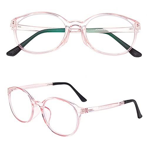 老眼鏡 軽いブルーライトカットメガネ おしゃれ ユニセックス メンズ レディース ケース付き 度付き ライトピンク 度数+350 L8088