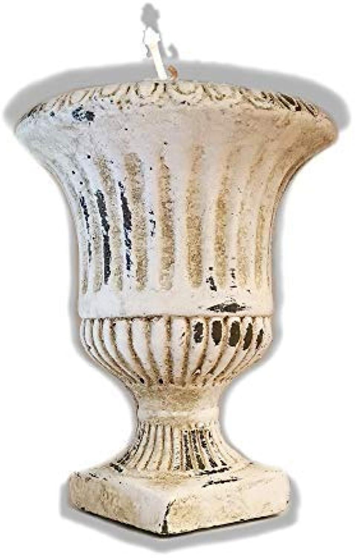 Der Perlenspieler® - Kerzenschmelzer-Vase im edlen Design mit Antik-Finish-Crème-ca. 14 cm x 17 cm B07MCVJ3FS