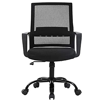 Office Chair Ergonomic Desk Chair Mid Back Computer Chair with Lumbar Support Armrests Breathable Mesh Height Adjustable Chair Rolling Swivel Chairs for Home Office,Black