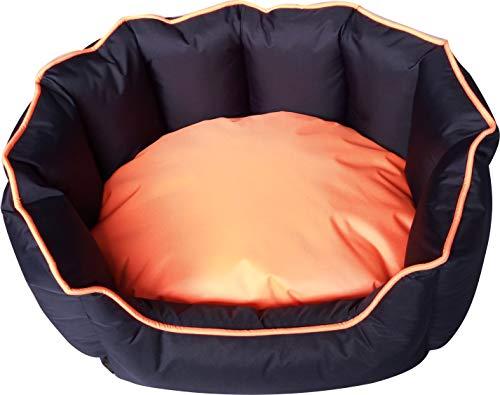 Classic Pet Products Cama Ovalada Impermeable para Perro, Azul Marino/Naranja, tamaño Mediano