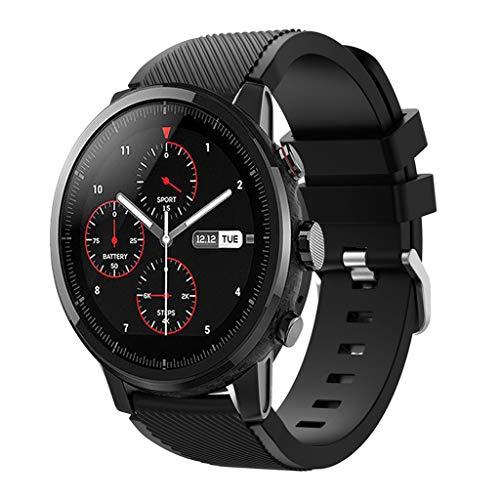 Cinturino per Huami Amazfit Stratos Smart Watch, Cinturino regolabile sportivo elegante, cinturino di ricambio impermeabile in silicone morbido per HUAMI Amazfit Stratos Smart Watch 2 (Nero)