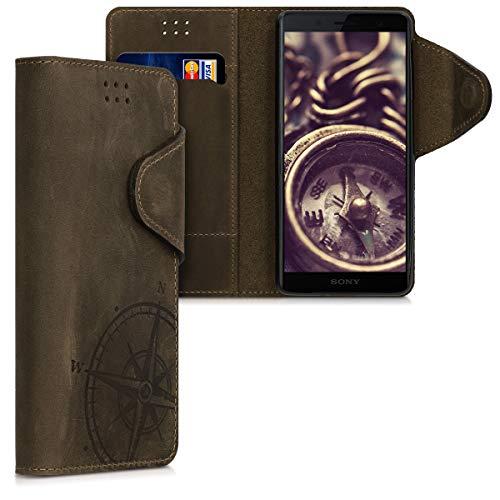 kalibri Wallet Hülle kompatibel mit Sony Xperia XZ2 Compact - Hülle Leder - Handy Cover Handyhülle Kompass Vintage Braun