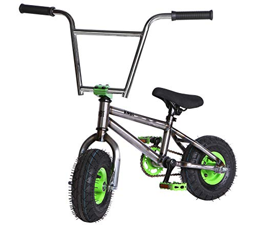 "Kobe ""Rusty Rat Rod Mini BMX - Raw + Green - Freestyle, Trick, Stunt Bicycle 10"" Wheels"