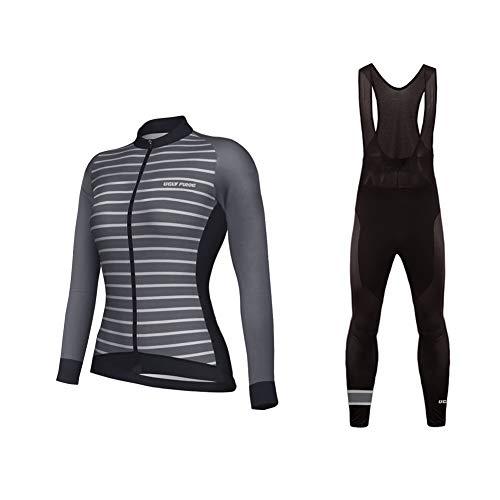 Uglyfrog Donna Moda MTB Abbigliamento Inverno Maglia Ciclismo Jerseys Maglia con Lunghe Maniche Tuta Invernale + Pantaloni Lunghi di Ciclismo