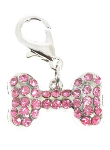 UrbanPup Halsband-Anhänger für Hunde, Knochen mit Swarovski-Kristallen, Pink