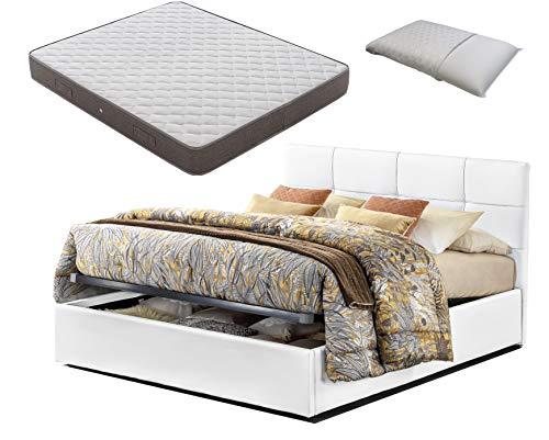 Letto piazza e mezza con Box Contenitore similpelle bianco touch + Materasso piazza e mezza altezza 20 cm+ Guanciale memory foam saponetta