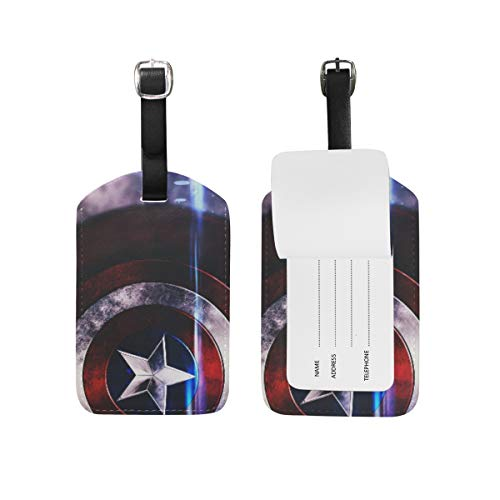 Luggage Tags Captain Avenger Superhero Shield Adjustable Strap Leather Luggage Tag for Suitcases Baggage