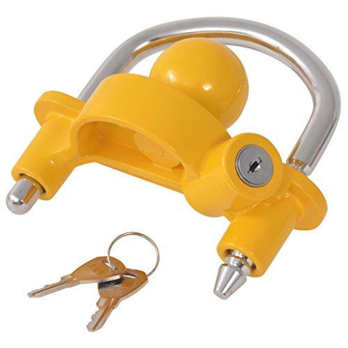 Tidyard Bloqueo de Remolque con 2 Llaves,Seguridad Antirrobo, Protección de la Propiedad,Acero y Aleación de Aluminio 10 x 23 x 14 cm Amarillo