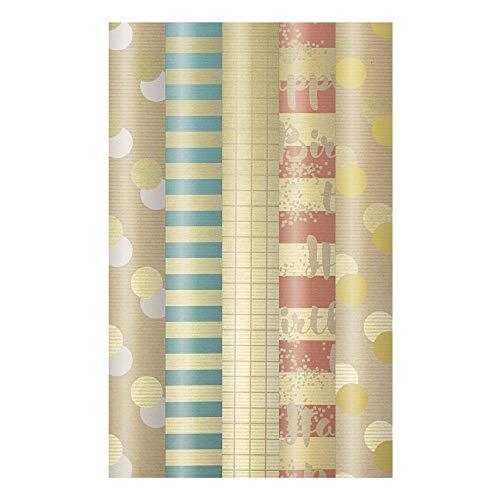 ARTEBENE Geschenkpapier Geschenkpapierbogen Geschenkpapierrolle Rolle 5er Set Streifen Dots