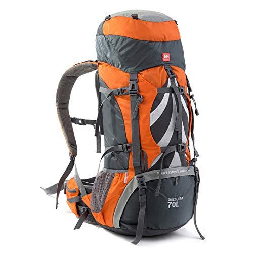 HENDTOR Professionelle Camping Wandern Rucksack Rucksack Outdoor Interner Rahmen Bergsteigenbeutel Für Männer Und Frauen 70L Orange