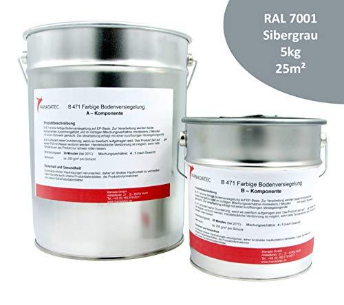 5KG 25m² viele RAL Farben 2K Epoxidharz BodenfarbeBodenbeschichtung Bodenversiegelung Betonfarbe Garagenbodenbeschichtung Fußbodenfarbe (RAL 7001 Silbergrau)