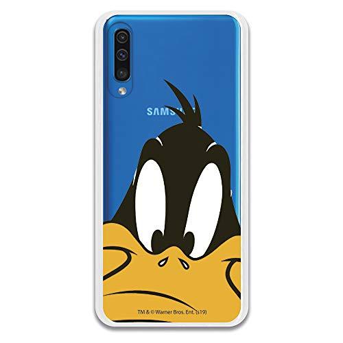 Funda para Samsung Galaxy A50 Oficial de Looney Tunes Pato Lucas Silueta Transparente para Proteger tu móvil. Carcasa para Samsung de Silicona Flexible con Licencia Oficial de Warner Bros.