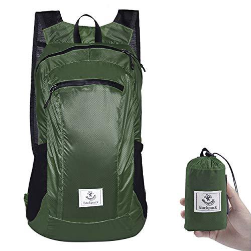 4Monster Wanderrucksack, wasserabweisend, leicht, verstaubar, für Reisen, Camping, Outdoor (Armeegrün-2, 24 l)