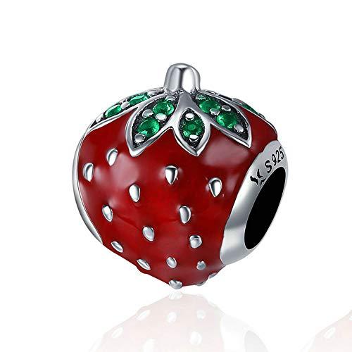 Strawberry Charm 925 Sterling Silver Pineapple Charm Fruit Charm Gift Charm Love Charm for Pandora Charm Bracelet… (B)