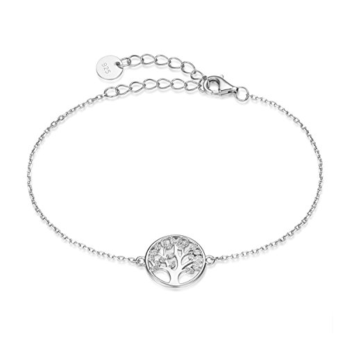 Codilor 925 Sterling Silver Tree of Life Bracelet Full Cubic Zirconia Family Tree Meaningful Gifts for Women
