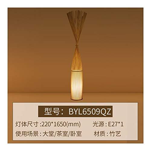 Dltmysh Lámpara de Mesa Piso del Estilo Nuevo Chino lámpara Moderna Hecha a Mano de Madera de bambú De pie de la lámpara de iluminación Interior (Lampshade Color : 165cm Burlywood)