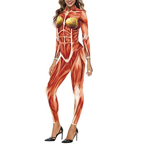 Amea Disfraz de Halloween para mujer, de rgano de msculo humano, para disfraz de vacaciones, desfile, fiesta, teatro callejero, noche, sexy, impresin 3D, disfraz de terror para adultos, talla M