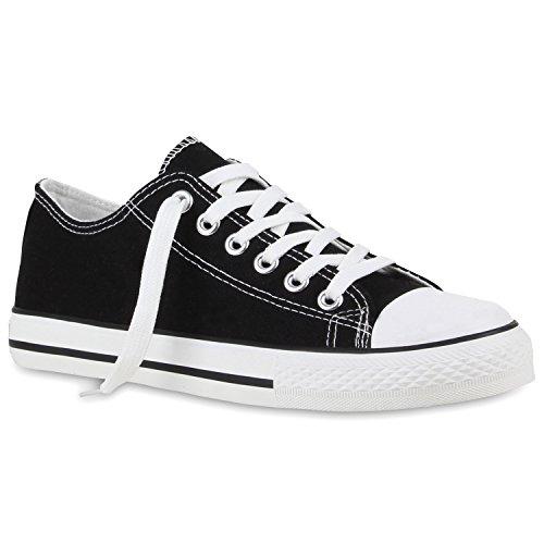 stiefelparadies Sportliche Herren Sneakers Low Flache Turnschuhe Stoffschuh Ösen 110949 Schwarz Cabanas 41 Flandell
