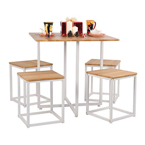 Queen Anne Casa 5 Pieces Space Saving Dining Set MDF Dining Table and 4 Stools Set, Scandinavian Style Kitchen Room Dining Room Set for 4 Persons with White Metal Frame, Oak