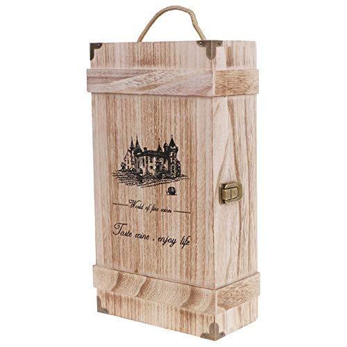 DealMux Vintage Wood 2 Caja de botella de vino tinto Portador Ger Crate Caja de almacenamiento con soporte para anuncios Fiesta de cumpleaños