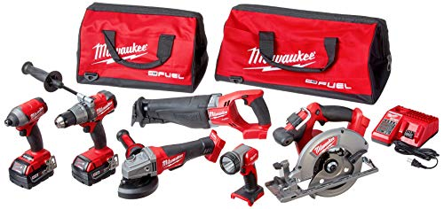 Milwaukee 2896-26 M18 Fuel 18-Volt Lithium-Ion Brushless Cordless Combo Kit (6-Tool)...