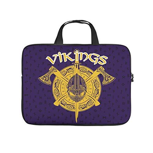 Laptop Shoulder Bag Vik-ings logo Water-Repellent Fabric Laptop Shoulder Bag for Men white 13 zoll